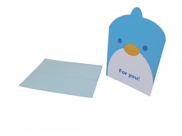 כרטיס ברכה+ מעטפה פינגווין למתנה
