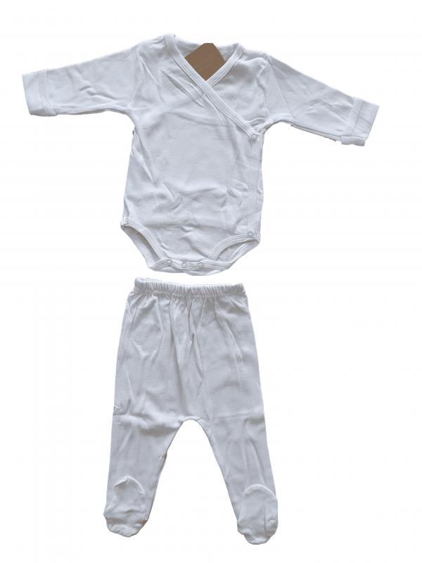 סט בגד גוף מעטפת ורגלית לבן חלק 100% כותנה