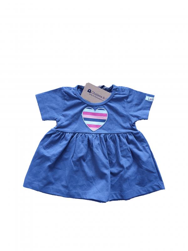 שמלה כחולה עם לב 100% כותנה