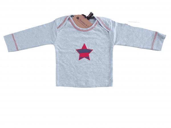 חולצה ארוכה אפורה עם כוכב 100% כותנה