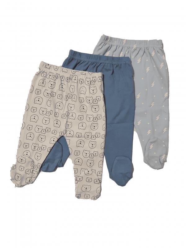שלישיית רגליות תינוקות דובי לבן כחול 100% כותנה