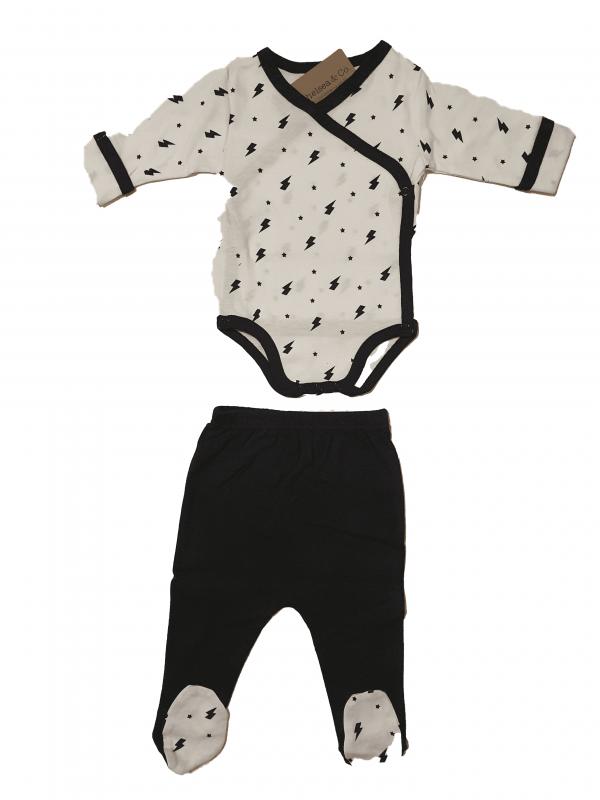 סט בגד גוף מעטפת ורגילת שחור לבן 100%כותנה