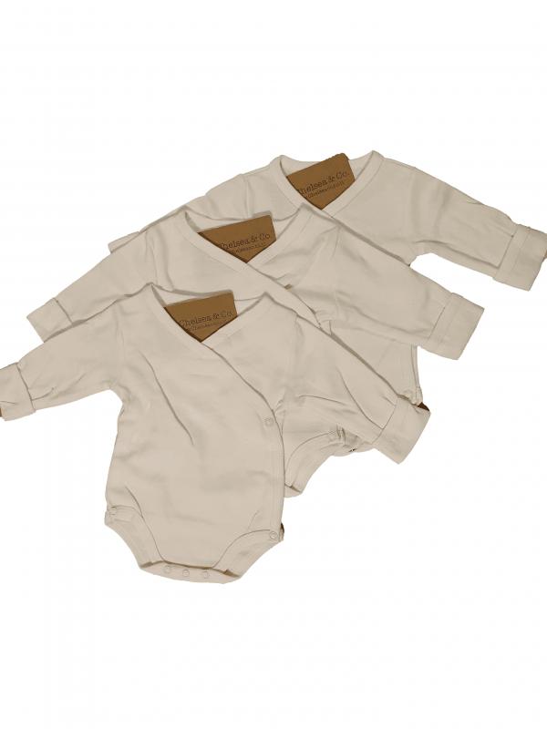 שלישיית בגדי גוף מעטפת לבן חלק 100% כותנה