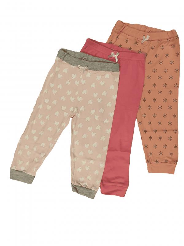 שלישיית מכנסי זחילה ורודות לבבנות 100% כותנה