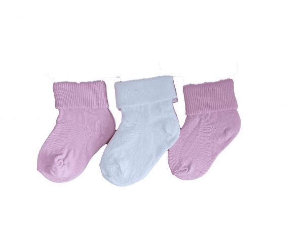שלישיית גרבי תינוקות ורוד לבן מידה 0-6