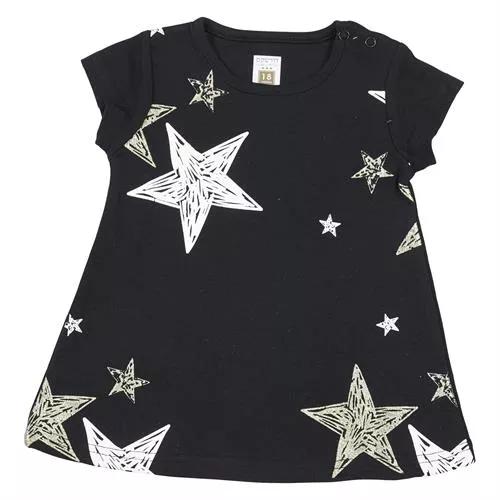 שמלה קצרה שחור כוכבים 100% כותנה