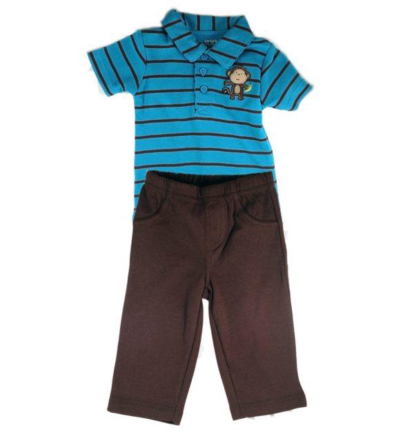 מארז בגד גוף פולו ומכנסיים ארוכים לתינוק מבית Carter's – קופיף שלי