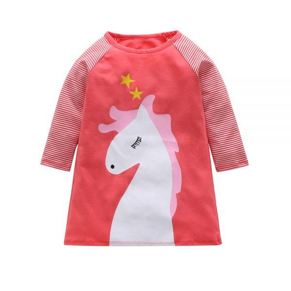 שמלת תינוקות סוסה ורודה ארוכה 100% כותנה