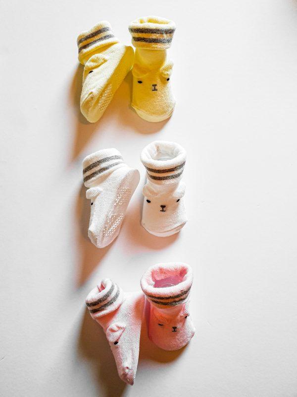 שלישיית גרבי תינוקות בעיצוב דובי לבנות