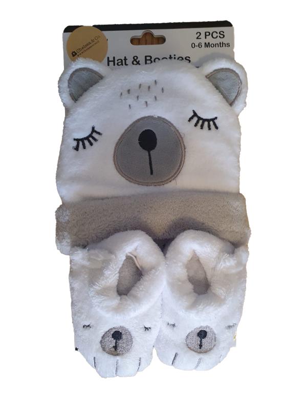 סט כובע צמר וגרבי דובי אפור לבן מידות 0-6