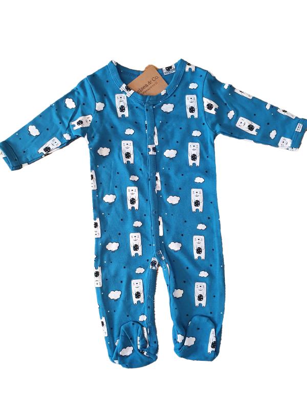 אוברול דובים כחול 100% כותנה