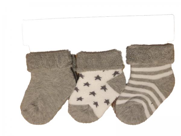 שלישיית גרבי תינוקות עבות אפור מידה 0-6