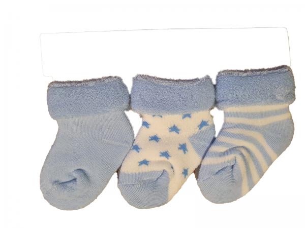 שלישיית גרבי תינוקות עבות תכלת מידה 0-6