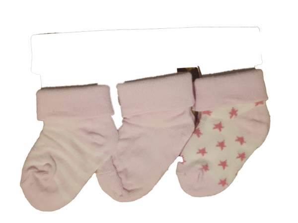 שלישיית גרבי תינוקות ורוד מידה 0-6