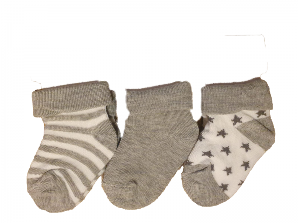 שלישיית גרבי תינוקות אפור מידה 0-6