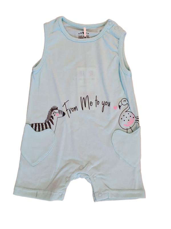 אוברול קצר תינוקות תכלת דקיק ונעים עם זברה וחסידה לבנות
