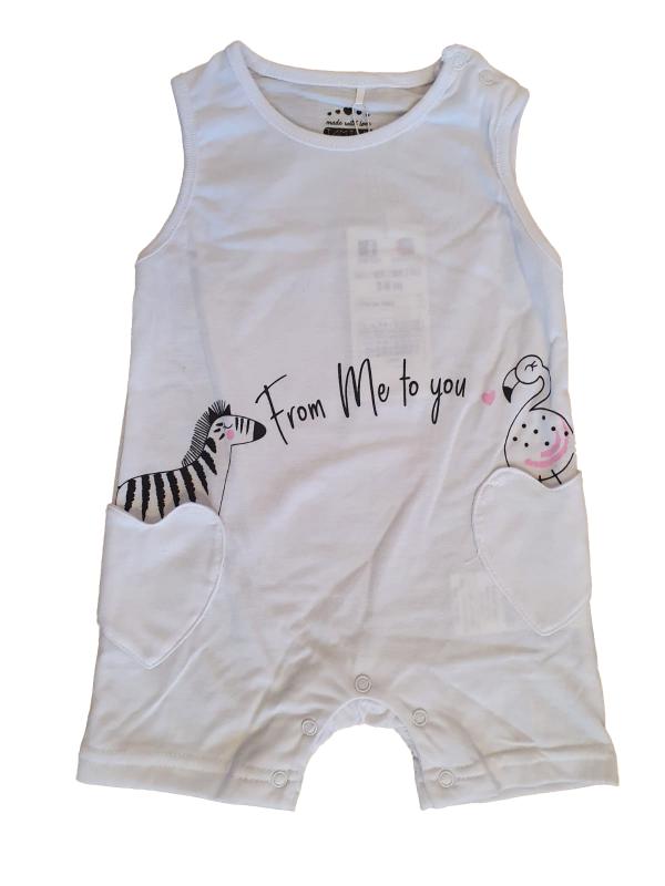 אוברול תינוקות קצר לבן דקיק עם זברה