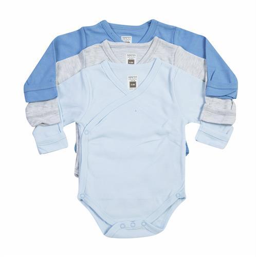 בגדי גוף חלקים צבעוני כחול ואפור 100% כותנה