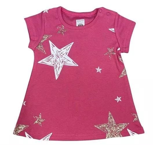 שמלה קצרה ורוד כוכבים 100% כותנה